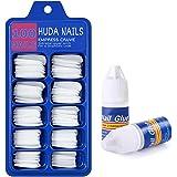 HUDA NAILS Beauty Artificial Nails Set Reusable with Glue Acrylic Fake / False Nails Set of 100 Pieces and Nail Glue(3gm)
