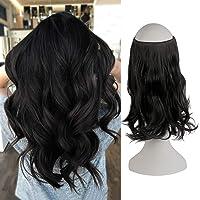 FESHFEN Extension Capelli Filo Invisibile Hair Lunghi Estensioni Wire Trasparente Fascia Unica Capelli Sintetici Mossi…