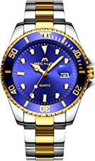 Herren Uhren Männer Wasserdicht Luxus Gold Edelstahl Groß Armbanduhr Sport Business Mode Design Kleid Datum Kalender Analoge Quarz Schwer Uhr