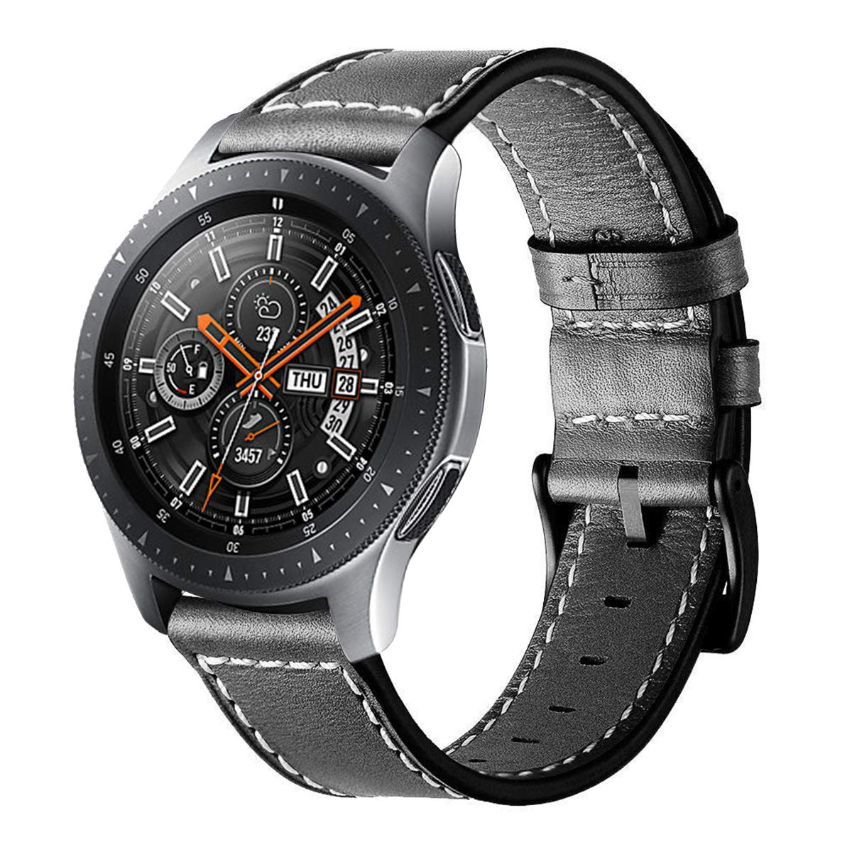 Circle Compatible with Samsung Galaxy Watch 46mm Strap,22mm Leather Strap for Galaxy Watch 46mm