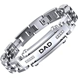 COOLMAN Men Bracelet Stainless Steel with Adjustable Clasp Engraved Wristband for DAD Father
