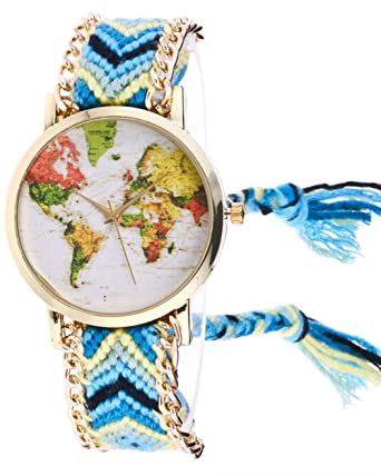 Weant women wristwatch knitted weaved rope strap world map pattern weant women wristwatch knitted weaved rope strap world map pattern traveler globe dial lady watch analog quartz dress watch sky blu amazon gumiabroncs Images