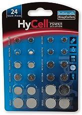 HyCell 24x Knopfzellen-Sparset/Je 2x CR2032 CR2025 CR2016 CR1620 LR41 LR43 LR44 LR626 LR621 LR754 LR1120 LR1130 / Ideal für Autoschlüssel TAN-Gerät Kinderspielzeug Uhren etc.