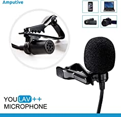 Amputive Youlav++ Lapel lavalier Clip Microphone For Youtube voice recording, omnidirectional Mic for Laptop Smartphones PC