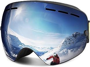 Skibrille, Outdoor-Sport Snowboard-Schutzbrillen mit Anti-Nebel UV-Schutz Austauschbare sphärische rahmenlose Linse, winddicht Ski-Schutzbrillen für Motorrad Fahrrad Skifahren Skaten (Silber)