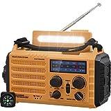 Radio Solaire, Radio Portable à Manivelle, Radio Météo d'urgence avec AM/FM/SW/NOAA, Banque d'alimentation Rechargeable 2000m