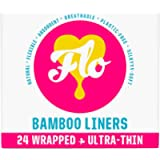 FLO Organic Bamboo Panty Liners Slim, Individually Wrapped, Biodegradable and Plastic Free (24 Count)