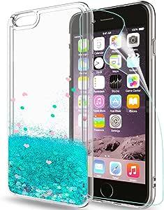 LeYi Hülle iPhone 6/iPhone 6S Glitzer Handyhülle mit HD Folie Schutzfolie,Cover TPU Bumper Silikon Treibsand Clear Schutzhülle für Case iPhone 6 Handy Hüllen ZX Turquoise
