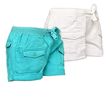 New Womens Cargo Shorts Cotton Canvas Ladies Shorts 2 Colours Size ...