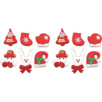Assorted 12pcs Christmas Felt Applique Kit Christmas Tree Snowman Stocking  Gloves Hat Santa Reindeers Non- aa378b647daa