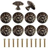 ShipeeKin 10x Retro Antieke 30mm Meubels Knoppen Lade Handvatten Kasteel Bloemen Patroon Bronzen Knoppen Vintage Messing Trek