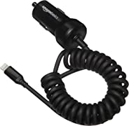 AmazonBasics Apple Certified High Speed Lightning Car Charger for Apple Devices with Coiled Cable- 5V 12W - 1.5 Foot - Black