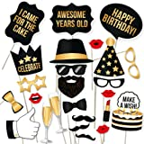 party propz birthday photo booth props 20pcs set with funny crown fun mask hats beard happy face wig mustache prop for boys g
