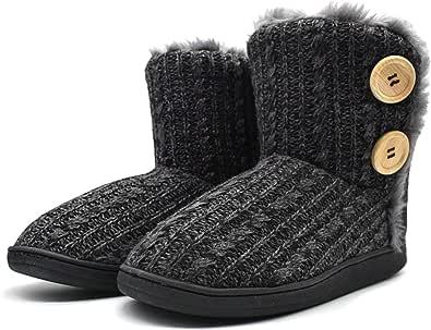KuaiLu Womens-Memory-Foam-Slipper-Boots, Fluffy Plush Faux Fur Lined House Slipper Boots Ladies, Chenille Knit with Warm Fleece Slip on Winter Slippers, Non-Slip Hard Rubber Sole