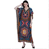 GirlsNCurls Womens Rayon African Kaftan Robe V-Neck Sleepwear Gown Multicolor (Waist Size:28-44)