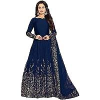 BRIDAL4Fashion Women's Anarkali Knee Length Gown (60-60 Blue_Blue_Free size)