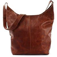 LECONI große Umhängetasche Damen Schultertasche praktische Ledertasche für Frauen Beuteltasche Vintage-Style Damentasche…