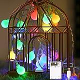 Fulighture Guirlande lumineuse, 2 modes d'éclairage alimentée par piles,prise USB de 4,9 m 40 LED,Décoration pour intérieur o