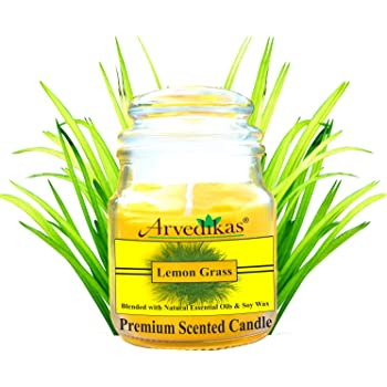 Arvedikas Natural Soy Wax Candle Blended with Lemon Grass Essential Oil & Soy Wax with Luxury Aroma Fragrance - Mosquito Repellent & Glass Jar - Premium Scented Candle - Special Gifts for Diwali