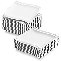 """MALACASA Flora 24pcs Assiettes à Dessert Gâteau Plate en Porcelaine 8.25""""/21 * 21.5 * 2.5cm Service de Table Vaisselles…"""