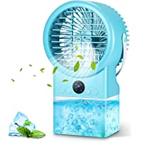 Air Cooler Klimagerät, 500ML Mobile Klimageräte, Mini Luftkühle, 7-Farben-Nachtlicht, Zeitfunktion, 3-Fach Verstellbar…
