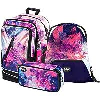Schulrucksack Set Mädchen 3 Teilig - Schultasche ab 3. Klasse - Grundschule Ranzen mit Brustgurt - Ergonomischer…