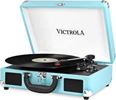 Victrola Suitcase Bluetooth 3-Speed Turntable - Turquoise
