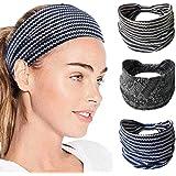 IYOU Fasce sportive Elegante fascia Impacchi di testa di yoga Sciarpa elastica a testa larga in cotone per donna e ragazza (c