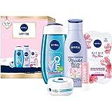 NIVEA Happy Time Geschenkset, Set mit Body Lotion, Pflegedusche, NIVEA Soft Creme, Gesichtsmaske und Labello Lip Scrub, Pfleg