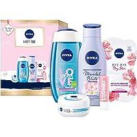 NIVEA Happy Time Geschenkset, Set mit Body Lotion, Pflegedusche, NIVEA Soft Creme, Gesichtsmaske und Labello Lip Scrub…