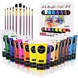 Set di Colori Acrilici per Dipingere, Gifort Set Pittura Acrilica Da 16 X 75ML con 10 Pennellin per Carta, Roccia, Legno, Cer