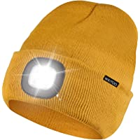 Unisex LED Beanie Hat with Light, USB Rechargeable Winter Knit Lighted Headlight Hats Headlamp Torch Cap Gift for Men…