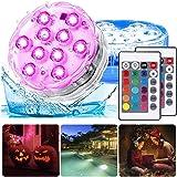 Nedsänkbara LED-lampor, vattentät undervattensbelysning, 2-pack pool RGB-lampa med fjärrkontroll dammbelysning set för vas ba