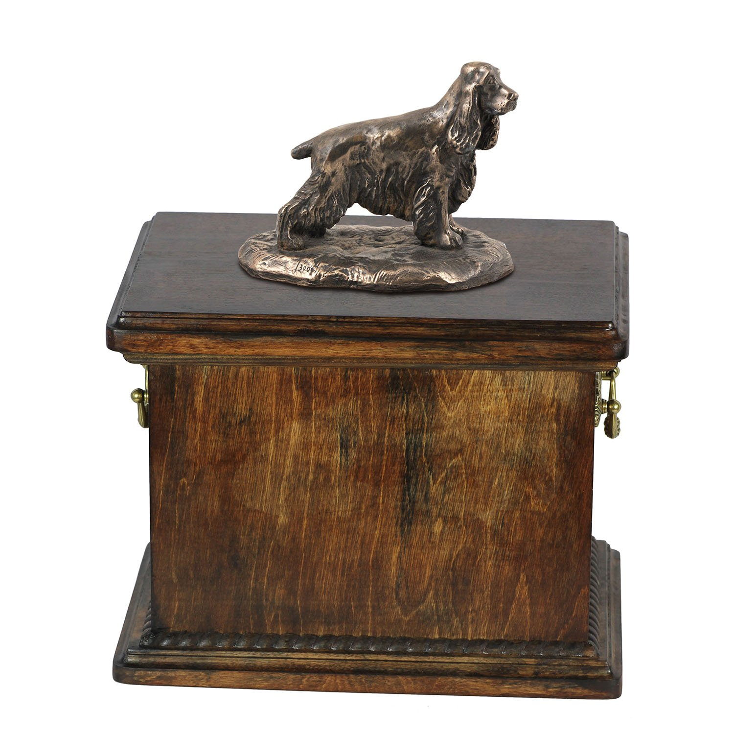 English Cocker Spaniel, memorial, urn for dog's ashes, with dog statue, ArtDog