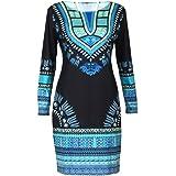 OverDose mujer De Manga Larga O-Collar Tradicional Africano Imprimir Dashiki Bodycon Sexy Vestido De La Manera