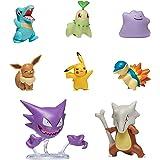 PoKéMoN Battle Figura Multi 8 Pack - (5-6 cm) Eevee, Pikachu, Ditto, Totodile, Chikorita, Cyndaquil (7,5 cm) Marowak & Haunte