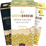 Greenbrrew Instant Green Coffee (Natural, Lemon and Strong) Flavor - 20 Servings Per Pack (Easy to Use)