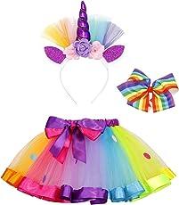 AmzBarley Costume da unicorno per ragazza Costume con gonna arcobaleno con fermaglio arcobaleno e cerchietto per capelli da unicorno
