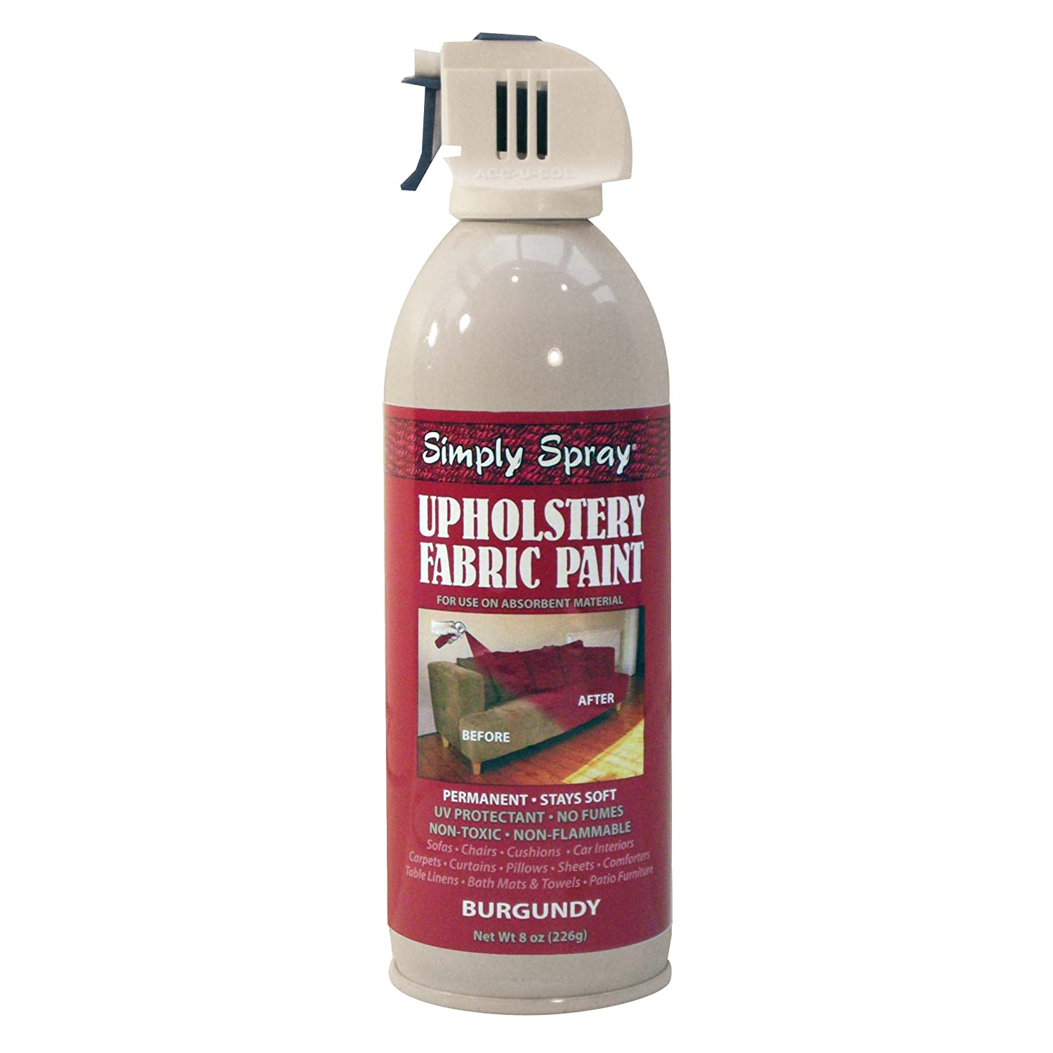 simply spray upholstery fabric paint nontoxic aerosol paint for use on all absorbent materials various colours available burgundy amazoncouk