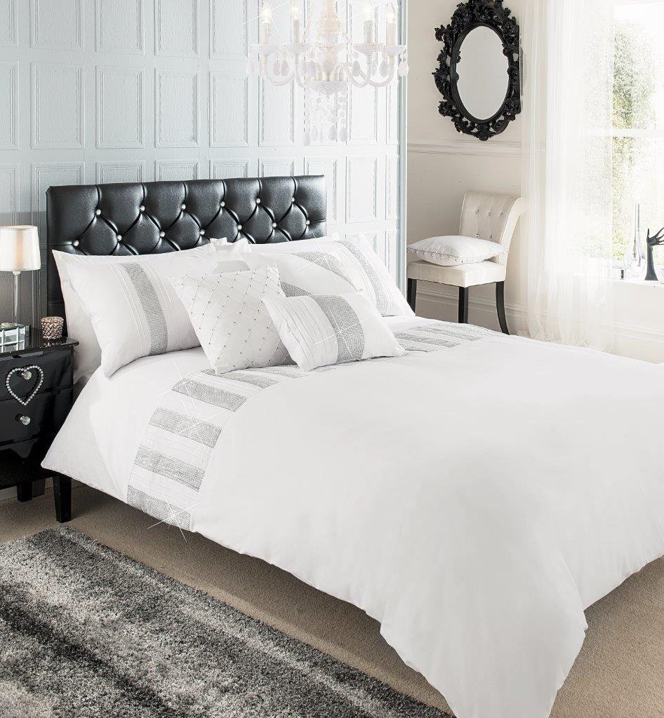 SUPERIOR COTTON DIAMANTE SEQUENCE LACE DOUBLE BED DUVET COVER ...