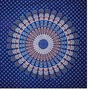 Mandala de tapisserie motif hippie bleu indien hippie for Decoration murale mandala