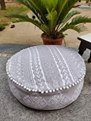 Handicraftofpinkcity Indian Pouffe Footstool Cover Round Patchwork Embroidered Pouf Ottoman Cover Cotton Traditional Furniture Footstool Seat Puff Cover Gray Color