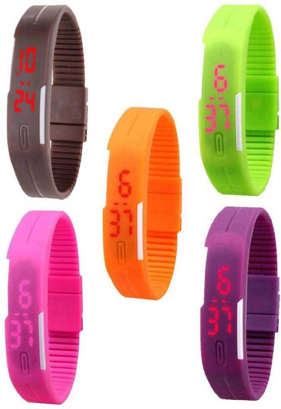 TESLO Digital Dial Slim & Led Bracelet Watch for Boys and Girls – Pack Of 5 (Multicolour)