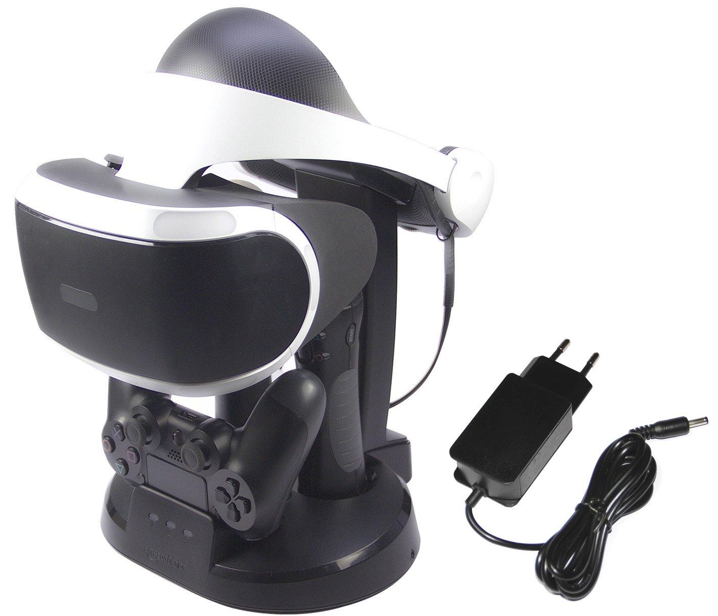 AmazonBasics – Estación de carga y expositor para PlayStation VR, Negro (Para CECH-ZCM1x series PS Move Motion Controller )
