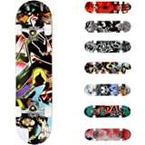 WeSkate Completo Skateboard para Principiantes, 80 x 20 cm 7 Capas Monopatín de Madera de Arce con rodamientos ABEC-7 Tabla d