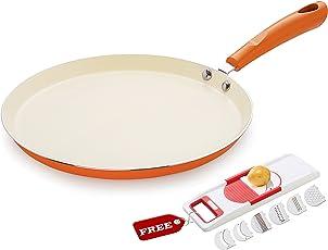 Nirlon Non-Stick Ceramic Cookware Set, 2-Pieces, Orange (CC_FT28_6 in 1_Free)