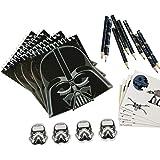 Amscan 9903095 – Star Wars-set med brevpapper, 20 delar, block, blyertspennor, suddgummi, klistermärken, skolvaror, give-away