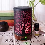 Air Humidifier lansiZD, LED Colorful Light Tree Shadow Air Purifier Mute Humidifier Home Aroma Diffuser - UK Plug
