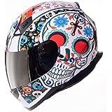 Shiro Casco Moto Integral ECE Homologado CASCO SH 881 MEXKULL BLANCO PERLADO EDICION LIMITADA (XS) para Mujer Hombre Adultos