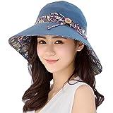 FLYFISH Mesdames Seau été Chapeau de Plage Pliable Chapeau de Plage Large Bord UPF50 + Packable pour Les Femmes